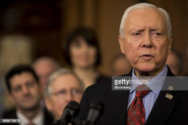 Senator Orrin Hatch a Republican from Utah speaks during a Tax Cuts and Jobs Act enrollment ceremony at the US Capitol in Washington DC US on...