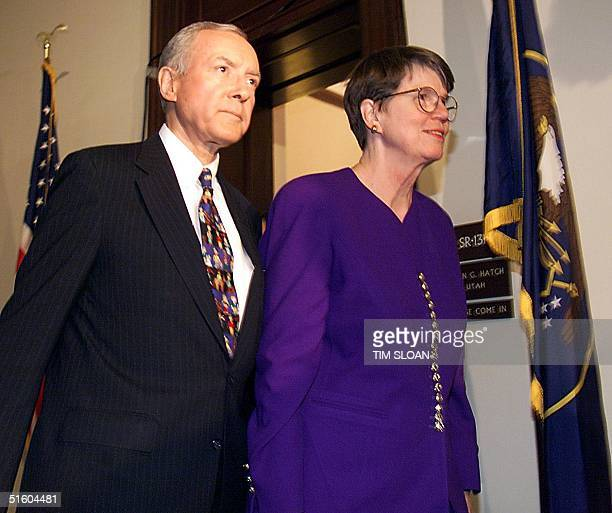 Senator Orrin Hatch Escorts Attorney General Janet Reno To A Meeting To Discuss The Congressional Oversight