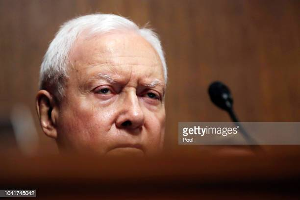 S Senator Orrin Hatch listens during a Senate Judiciary Committee confirmation hearing with professor Christine Blasey Ford who has accused US...