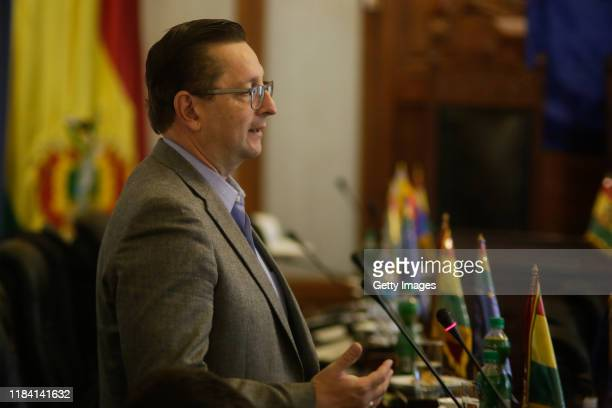 Senator Oscar Ortiz speaks during the session to agree on a bill calling for fresh presidential elections on November 23 2019 in La Paz Bolivia...