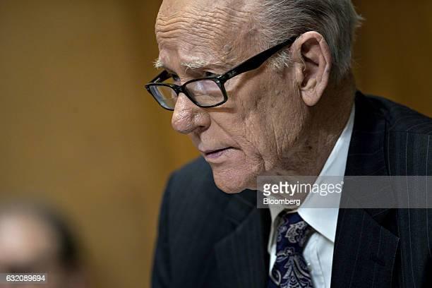 Senator Pat Roberts a Republican from Kansas listens during a Senate Finance Committee confirmation hearing for Steven Mnuchin Treasury secretary...