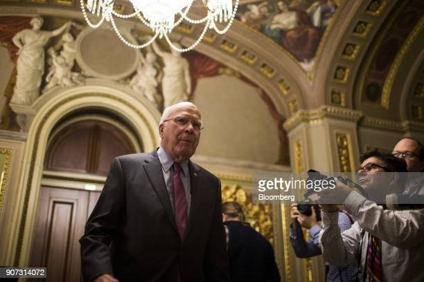 Senator Patrick Leahy a Democrat from Vermont walks to the Senate Floor at the US Capitol in Washington DC US on Friday Jan 19 2018 The Senate was...