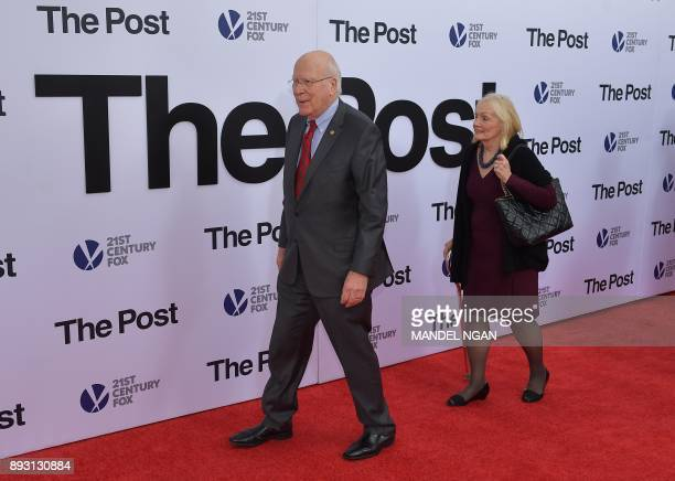 US Senator Patrick Leahy and his wife Marcelle Pomerleau arrive for the premiere of The Post on December 14 in Washington DC / AFP PHOTO / Mandel NGAN