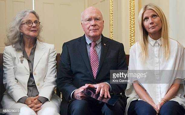 Senator Patrick Leahy with actresses Blythe Danner and her daughter Gwyneth Paltrow speak during a news conference to discuss opposition to HR 1599...