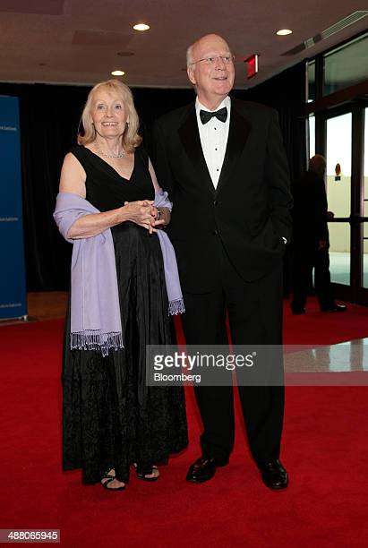 Senator Patrick Pat Leahy a Democrat from Vermont right and Marcelle Pomerleau arrive for the White House Correspondents' Association dinner in...
