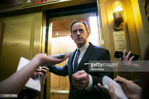 Senator Patrick Toomey a Republican from Pennsylvania speaks to members of the media following a vote on the national emergency declaration in...