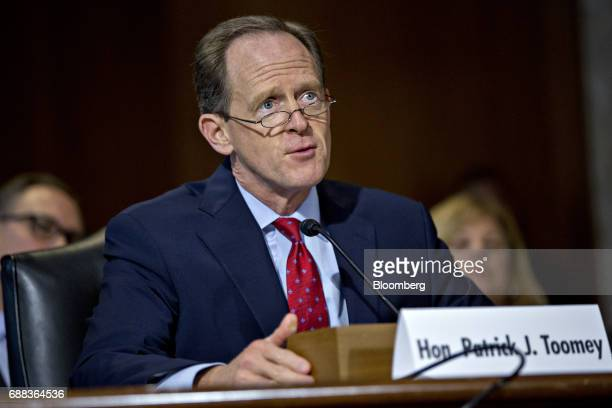 Senator Patrick Toomey a Republican from Pennsylvania speaks while introducing nominees during a Senate Energy and Natural Resources Committee...