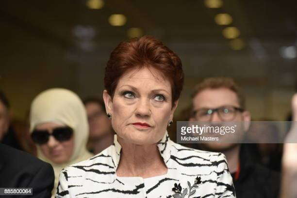 Senator Pauline Hanson listens as Milo Yiannopoulos speaks during an event hosted by senator David Leyonhjelm at Parliament House on December 5 2017...