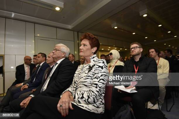 Senator Pauline Hanson listens to Milo Yiannopoulos speaks during an event hosted by senator David Leyonhjelm at Parliament House on December 5 2017...