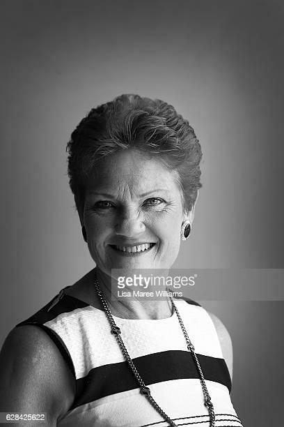 Senator Pauline Hanson poses at Suncoast Cabs head office on December 8 2016 in Sunshine Coast Australia Senator Hanson met with representatives from...