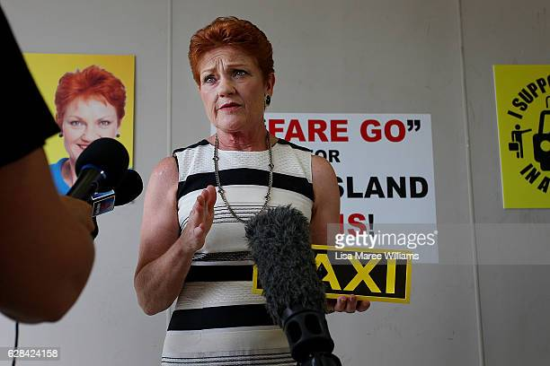 Senator Pauline Hanson speaks with the media and local taxi owners at Suncoast Cabs head office on December 8 2016 in Sunshine Coast Australia...