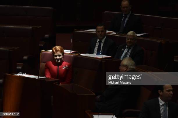 Senator Pauline Hanson votes in favour of amendments to the marriage equality bill introduced into the Senate at Parliament House on November 28 2017...