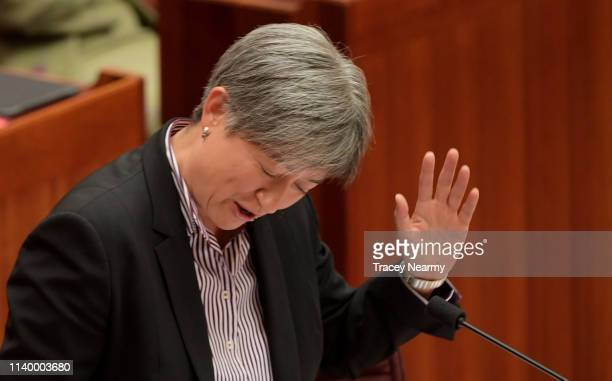 Senator Penny Wong becomes flustered in the Senate at Parliament House on April 03 2019 in Canberra Australia Senator Anning is facing a censure...
