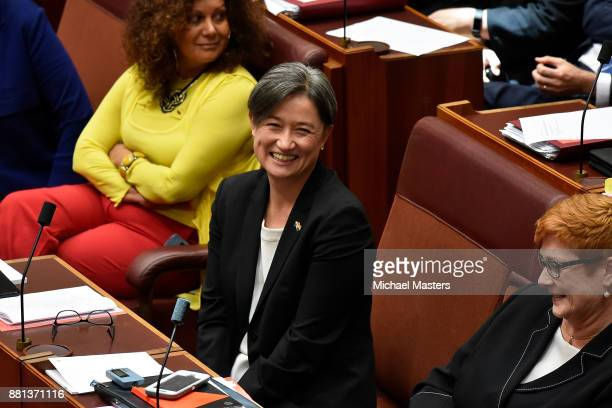 Senator Penny Wong voting yes for the marriage eqaulity bill in the Senate at Parliament House on November 29 2017 in Canberra Australia The Senate...