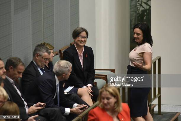 Senator Penny Wong watches on as the bill to legalise marriage eqaulity comes to a final vote at Parliament House on December 7 2017 in Canberra...