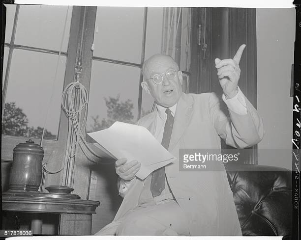 Senator Ralph E. Flanders, Vermont, prepares his bill of particulars against Senator Joseph McCarthy which he will deliver to the Senator when he...