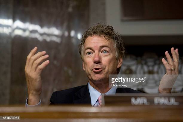 Senator Rand Paul a Republican from Kentucky and 2016 US 2016 presidential candidate questions John Kerry US secretary of state not pictured during a...