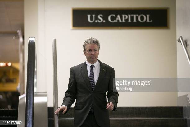 Senator Rand Paul a Republican from Kentucky departs the US Capitol before a vote on the national emergency declaration in Washington DC US on...