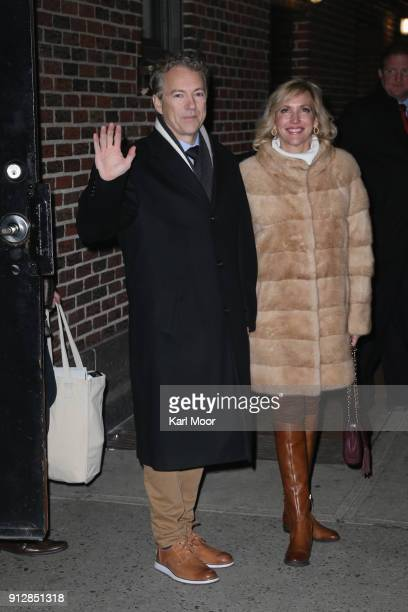 Senator Rand Paul and his wife Kelley Ashby depart after his taping of 'The Late Show With Stephen Colbert' at Ed Sullivan Theater on January 31 2018...