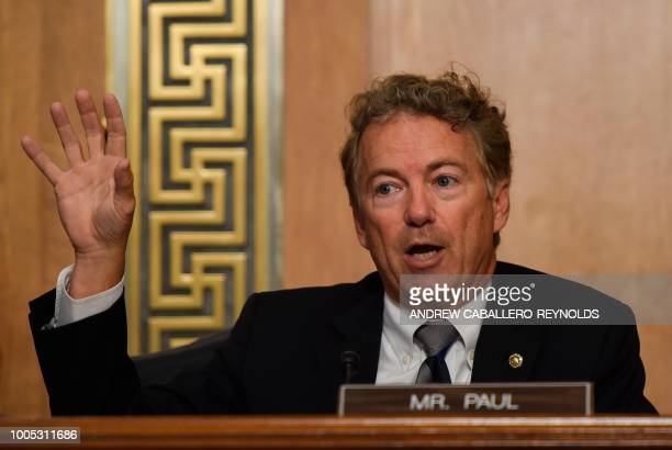 US Senator Rand Paul asks a question during a Senate Foreign Relations Committee hearing with US Secretary of State Mike Pompeo in Washington DC on...