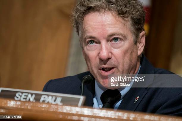 Senator Rand Paul delivers an opening statement before John F. Sopko, special inspector general for Afghanistan reconstruction, testifies before the...