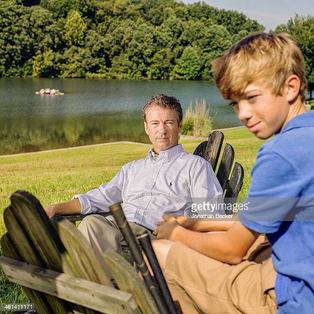 Senator Rand Paul is photographed with his son Robert for Vogue Magazine on July 26, 2013 in Bowling Green, Kentucky. PUBLISHED IMAGE.