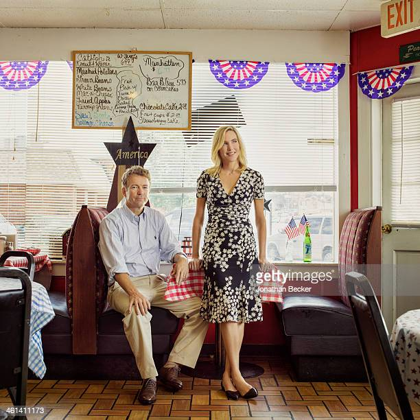 Senator Rand Paul is photographed with wife Kelley Ashby for Vogue Magazine on July 26 2013 at the Red White Blue Cafe in Bowling Green Kentucky...