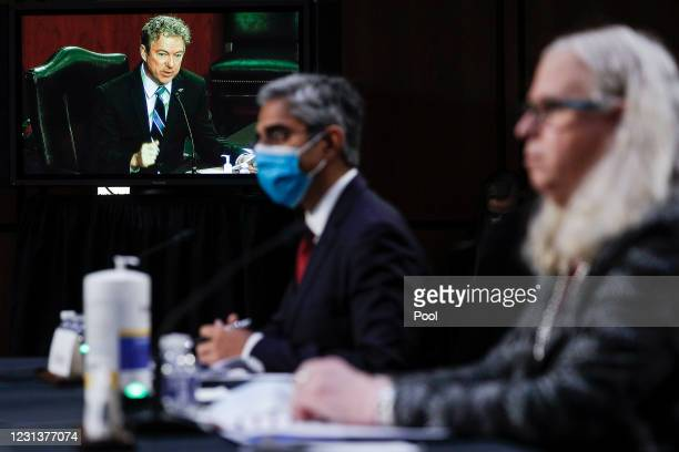 Senator Rand Paul is seen on a television monitor at the confirmation hearing for Vivek Murthy and Rachel Levine before the Senate Health, Education,...