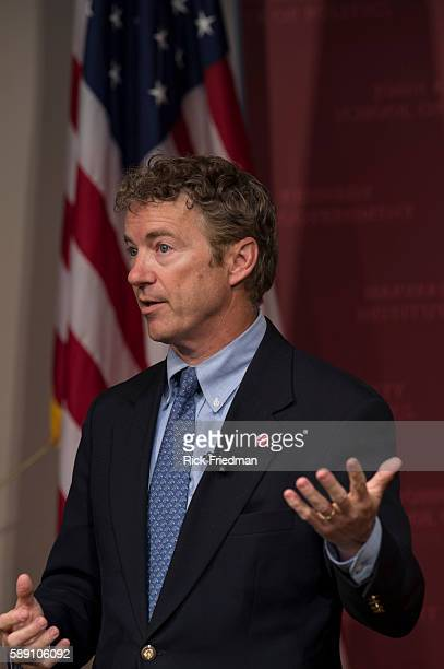 Senator Rand Paul speaking at the John F Kennedy Jr Forum Institute of Politics at the Harvard Kennedy School in Cambridge Mass on April 25 2014