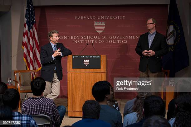 Senator Rand Paul speaking with Trey Grayson director of the Institute of Politics at Harvard Kennedy School at the John F Kennedy Jr Forum Institute...