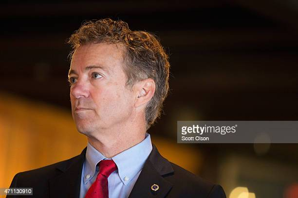 Senator Rand Paul speaks to guests at a campaign event at Bloomsbury Farm on April 25, 2015 in Atkins, Iowa. Paul is seeking the 2016 Republican...
