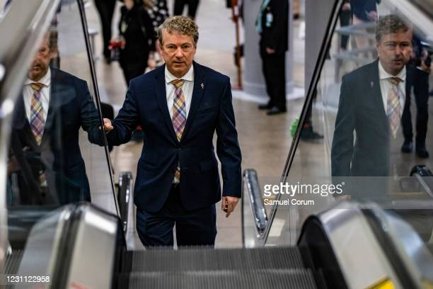 Senator Rand Paul walks through the Senate subway on his way to the fourth day of the Senates second impeachment trial of former President Donald...