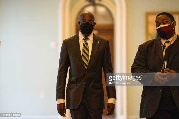 Senator Raphael Warnock, walks through the halls on Capitol Hill on Tuesday, Jan. 26, 2021 in Washington, DC.