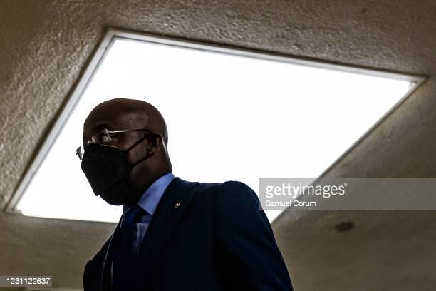 Senator Raphael Warnock walks through the Senate subway on his way to the fourth day of the Senates second impeachment trial of former President...