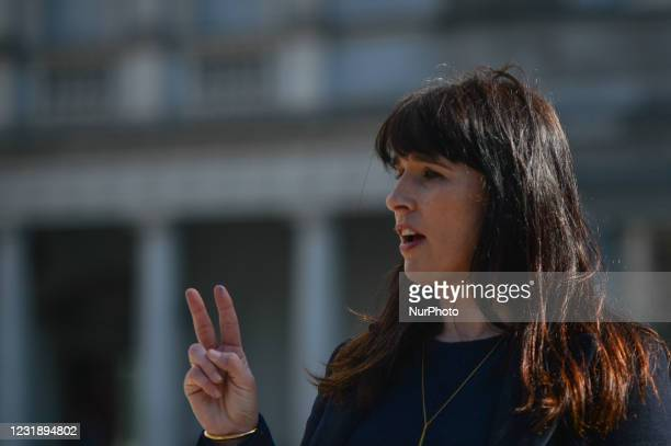 Senator Rebecca Moynihan, spokesperson on Housing, Local Government and Heritage for Labour Party, speaks to media at Leinster House in Dublin,...