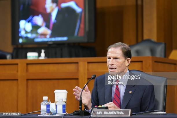 Senator Richard Blumenthal, a Democrat from Connecticut, speaks during a Senate Judiciary Committee confirmation hearing in Washington, D.C., U.S.,...