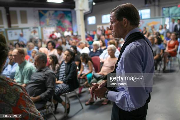 S Senator Richard Blumenthal listens at a town hallstyle event held to reassure the nervous immigrant community on August 12 2019 in Stamford...