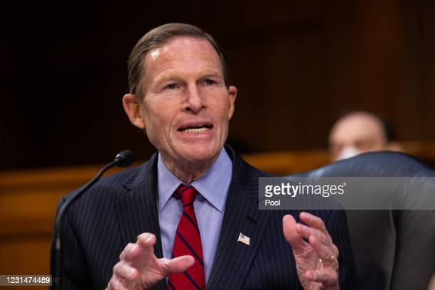 Senator Richard Blumenthal, speaks as FBI Director Christopher Wray testifies before the Senate Judiciary Committee about the January 6th attack on...