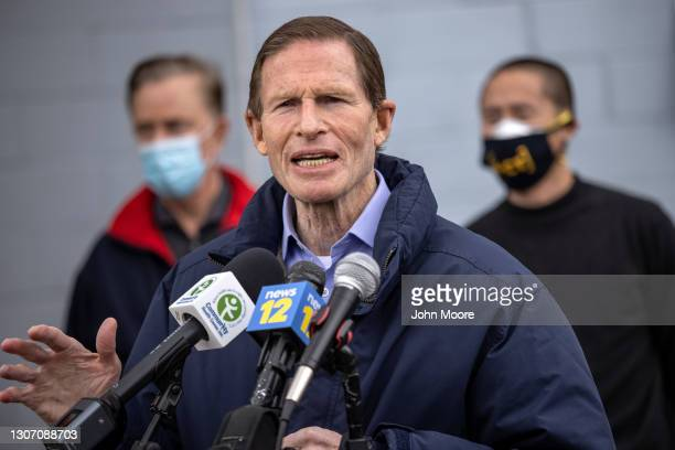 Senator Richard Blumenthal speaks at a Covid-19 community vaccination clinic on March 14, 2021 in Stamford, Connecticut. The non-profit Building One...