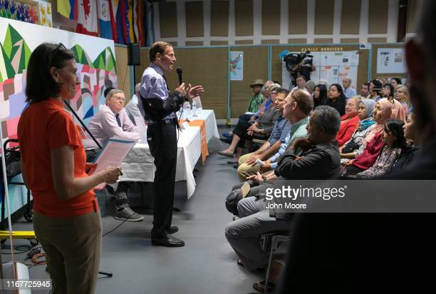 S Senator Richard Blumenthal speaks at a town hallstyle event held to reassure the nervous immigrant community on August 12 2019 in Stamford...