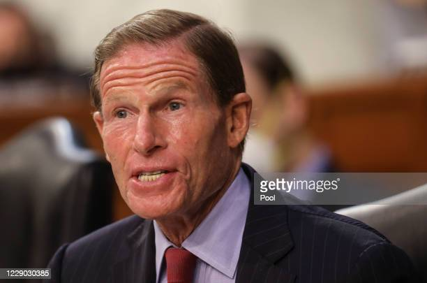 Senator Richard Blumenthal speaks during the Supreme Court confirmation hearing for Judge Amy Coney Barrett before the Senate Judiciary Committee on...