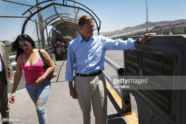 S Senator Richard Blumenthal stands along the US/Mexico border at the top of the Paseo del Norte Port of Entry bridge on June 22 2018 in El Paso...