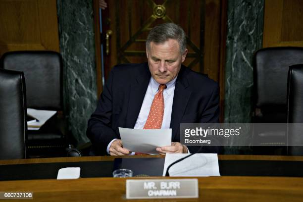 Senator Richard Burr a Republican from North Carolina and chairman of the Senate Intelligence Committee waits to begin a hearing in Washington DC US...