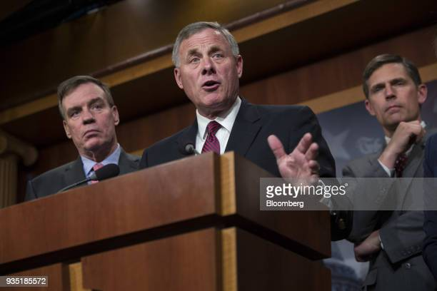 Senator Richard Burr a Republican from North Carolina and chairman of the Senate Intelligence Committee center speaks during a press conference...
