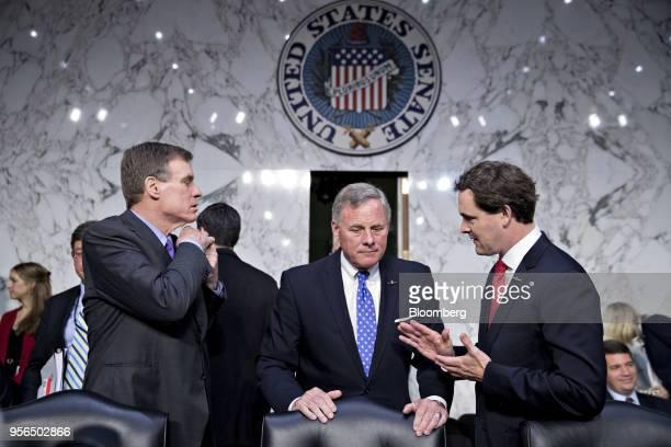 Senator Richard Burr a Republican from North Carolina and chairman of the Senate Intelligence Committee center and ranking member Senator Mark Warner...