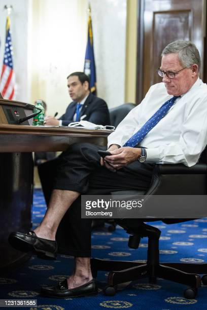 Senator Richard Burr, a Republican from North Carolina, listens during a Senate Intelligence Committee confirmation hearing for William Burns,...