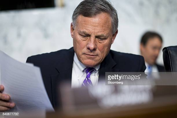 Senator Richard Burr a Republican from North Carolina prepares for a hearing with John Brennan director of the Central Intelligence Agency not...