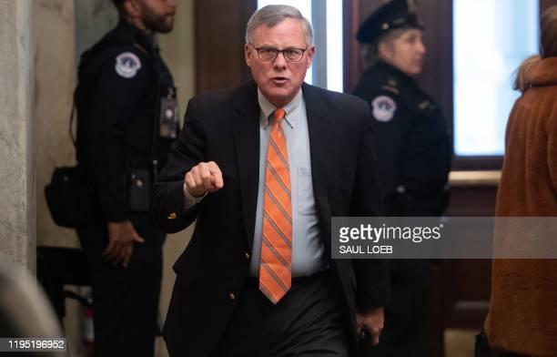 US Senator Richard Burr arrives for the Senate impeachment trial of US President Donald Trump at the US Capitol in Washington DC January 21 2020...