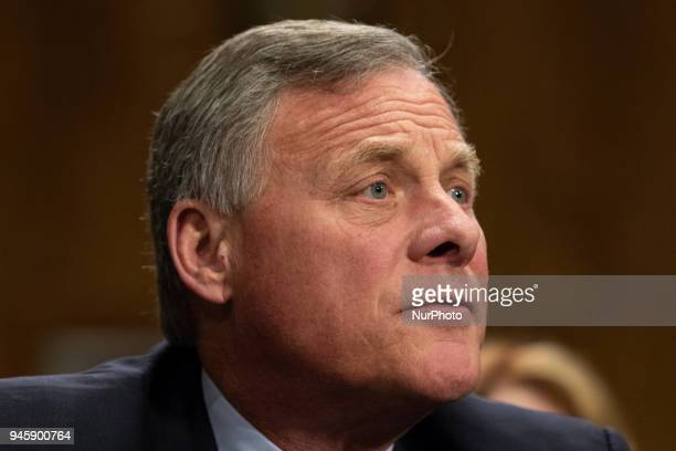 Senator Richard Burr introduces Michael Pompeo director of the Central Intelligence Agency and US secretary of state nominee for the Trump...