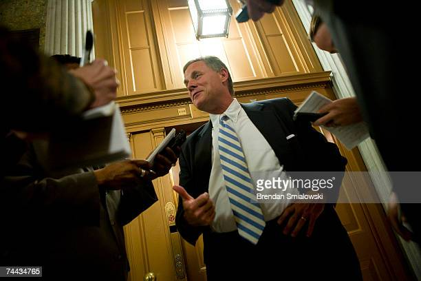 Senator Richard Burr speaks with reporters after a cloture vote on Capitol Hill June 7, 2007 in Washington, DC. The Senate voted against cloture for...